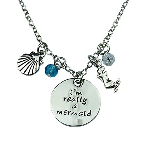 (Art Attack Silvertone I'm Really A Mermaid Sea Shell Water Ocean Blue Bead Pendant Necklace)