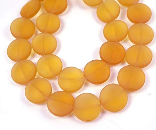 12 Pcs Frosted Sea Glass Coin Disc Beads Topaz Pendant Necklace Jewelry Making Supplies Craft DIY Kit ()
