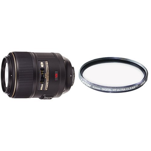 Nikon AF-S VR Micro-NIKKOR 105mm f/2.8G IF-ED Vibration Reduction Fixed Lens with Auto Focus for Nikon DSLR Cameras with Tiffen 62mm Protection Filter