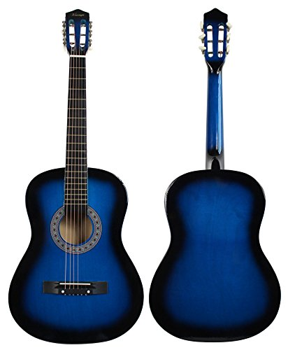 "YMC 38"" Blue Beginner Acoustic Guitar Starter Package Student Guitar with Gig Bag,Strap, 3 Thickness 9 Picks,2 Pickguards,Pick Holder, Extra Strings, Electronic Tuner -Blue - Image 2"