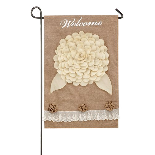 Evergreen White Floral Welcome Double-Sided Burlap Garden Flag - 12.5