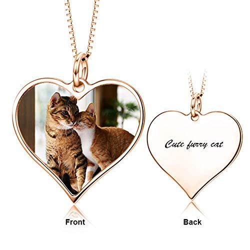 LONAGO 925 Sterling Silver Personalized Photo Necklace Custom Colorful Picture with Name Heart Pendant Necklace (Heart-Shape (Rose Gold))
