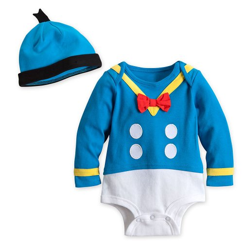 Disney Store Donald Duck Onesie Halloween Costume Bodysuit & Hat Size 6-9 -