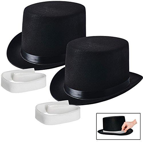 NJ Novelty - Black Felt Top Hat, Costume Dress Up Party Hat, Set of (Christmas Caroler Hat)