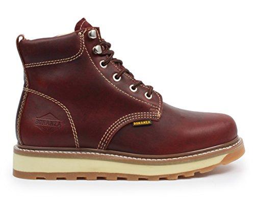 Stivali Bonanza Goodyear Mens 6 Premium In Pelle Industriale Rotondo Lavoro Avvio Antiscivolo Bordeaux