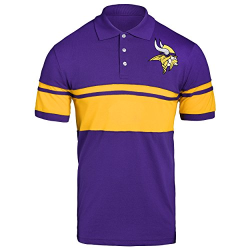 d9298519d FOCO NFL Minnesota Vikings Football Team Logo Cotton Stripe Polo Shirt