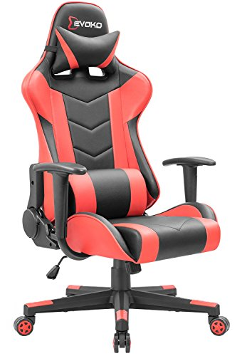 Devoko Ergonomic Gaming Chair Racing Style Adjustable Height High-Back PC Computer Chair with Headrest and Lumbar Massage Support Executive Office Chair (Red) by Devoko