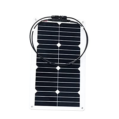 ALEKO 20W 20-Watt Semi Flexible Solar Monocrystalline Panel 12V Solar Module Power System