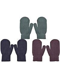 PZLE Kids Knit Mittens Winter Cashmere Warm Stretch 3 Pairs Black Coffee and Darkgrey 3-6 Years