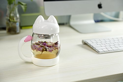 MeGlass Cute Cat Tea Mugs, 14oz Protable Glass Tea Cup with a Lid & Infuser for Home & Office Use (White) by MeGlass (Image #7)