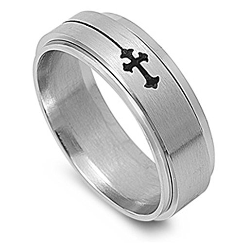 Men's Cross Spinner Ring Wholesale Stainless Steel Band New USA 8mm Size 9