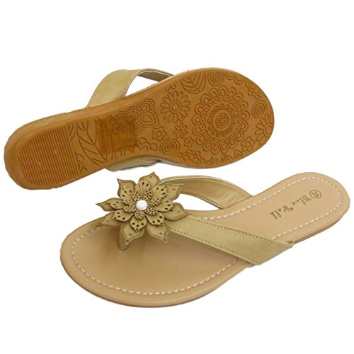 Damen Taupe Zehensteg Blume Bequem Sandalen Flip Flop Schuhe Holiday Turnschuhe UK 3-8