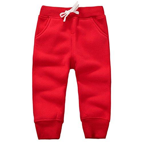 Infant Sweatpants - CuteOn Unisex Toddler Jogger Pants Kids Cotton Elastic Waist Winter Baby Sweatpants Pants 1-5Years Red