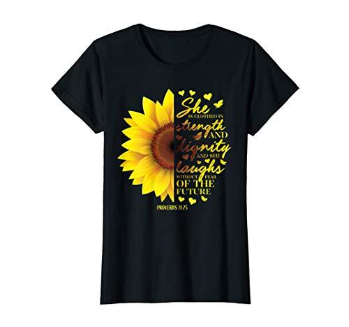 Christian Bible Verse Sunflower Scripture Religious Gift Her T-Shirt