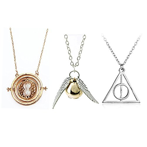 OPENDGO Harry Potter Inspired Necklace Set Time Turner Deathly Hallows Golden Snitch for Harry Potter Fans Gifts Collection or Decorations Magical Cosplay Costume Jewelry Gift (3pcs) ()
