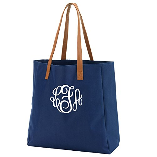 [High Fashion Tote Bag Can Be Personalized Perfect for Bridal Party Shower Gifts (Monogrammed Navy)] (Bridal Embroidered Tote)