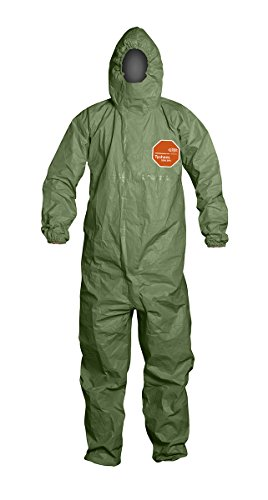 DuPont Tychem 2000 SFR Coverall with Attached Hood, Front Zipper Closure, Taped Seams and Storm Flap, Green, 2X-Large (Pack of 4) by DuPont (Image #2)