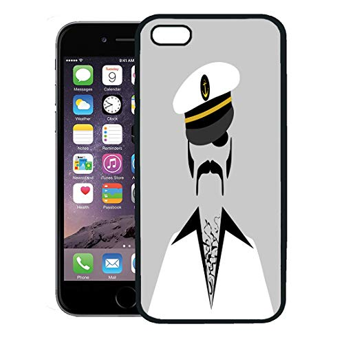 (Semtomn Phone Case for iPhone 8 Plus case,Navy Captain Cool Sailor Hairy Chest Hair Boat Disco Ship Black iPhone 7 Plus case Cover,Black)