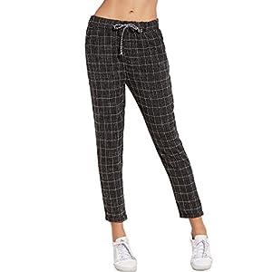 SweatyRocks Women's Drawstring Waist Striped Casual Capris Pants with Pockets (Medium, Black#1)
