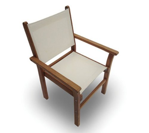 Royal Teak Collection CAPW Captiva Sling Stacking Chair, White