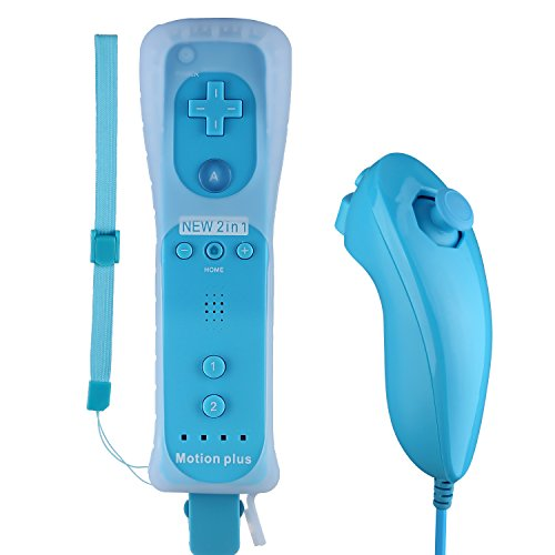 PowerLead Motion Plus Remote and Nunchuck Controller for Wii + Case (Blue)