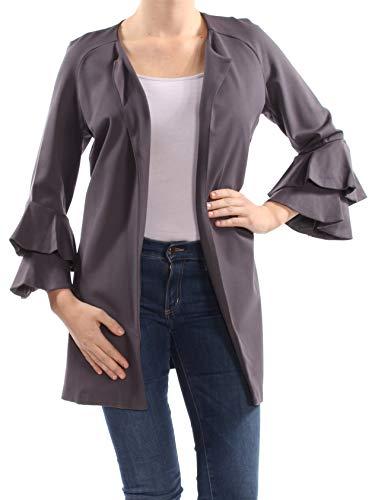 (kensie Womens Bell Sleeves Long Jacket Gray M )