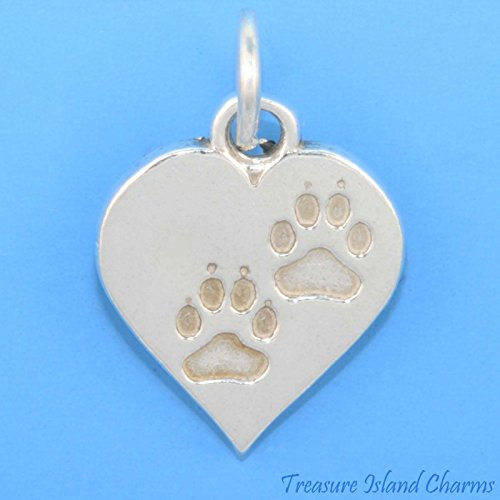 Heart with Dog OR CAT Paws .925 Solid Sterling Silver Charm Pendant PAW Print Ideal Gifts, Pendant, Charms, DIY Crafting, Gift Set from Heart by Wholesale Charms ()