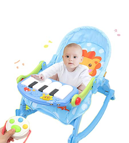 NMPA- Infant Bouncers Balance Multi-Function Toddler Rocker Baby Rocking Chair Cradle Lounge Chair Appease Sleepy Newborn Shaker with Piano
