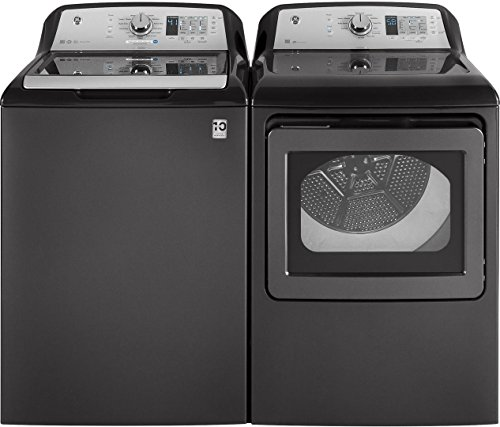 GE Grey Top Load Laundry Pair With GTW685BPLDG 27u2033 Washer And GTD65EBPLDG  27u2033 Electric Dryer