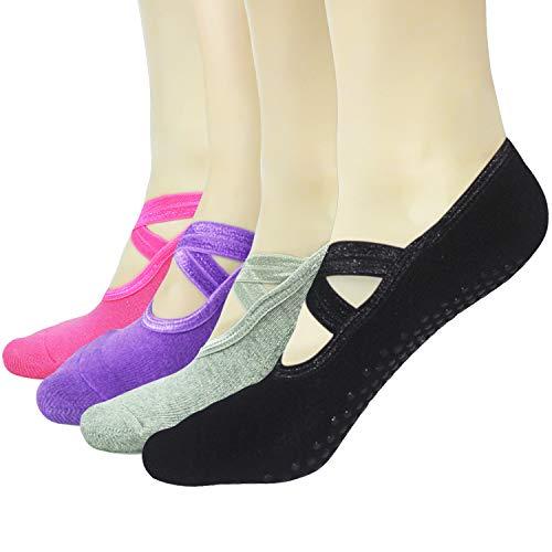 Gripper Pilates Barre Slipper Socks For Women - Elutong 4 Pairs Sticky Non Slip Grips Socks Yoga Ballet Sox ()