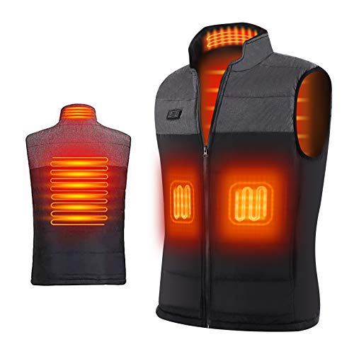 Heated Vest for Men Ejoy [UPGRADED 2020] Electric Warm Heat Jacket with Dual Power Switch Washable Lightweight Heating Clothes for Winter Outdoor Activity Hiking Hunting Fishing Powerbank NOT INCLUDED
