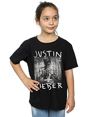 Justin Bieber Girls Purpose Album Cover T-Shirt 9-11 Years Black