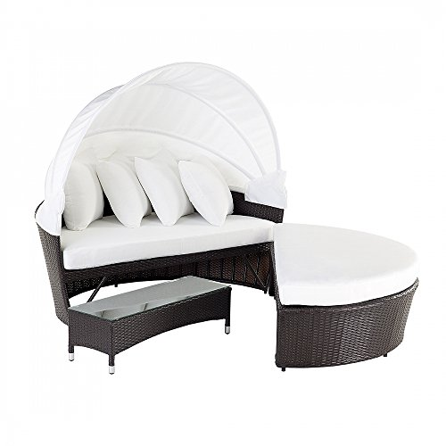 Beliani Sylt Lux Cottage and Patio Furniture Outdoor Wicker Canopy (Cottage Wicker Furniture)