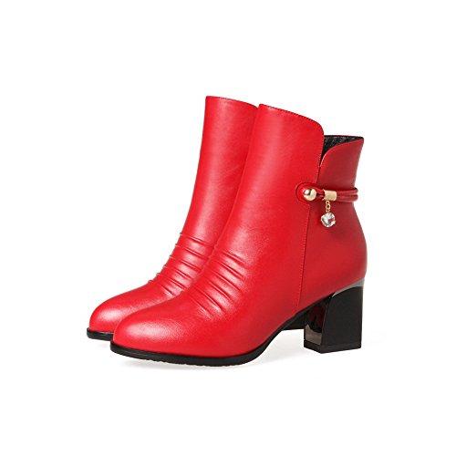 BalaMasa Womens Chunky Heels Platform Zipper Urethane Boots Red gGKvG1L