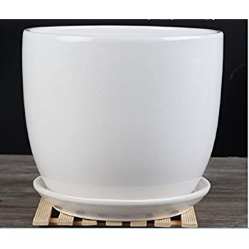 Ceramic Pure White Modern Home/ Garden Round Flower Planter Pot with Saucer Tray Medium