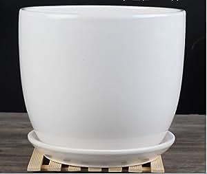 Amazon Com Ceramic Pure White Modern Home Garden Round