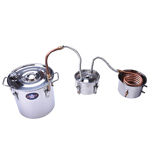 Suteck 5 Gal Moonshine Still Spirits Kit 18L Water Alcohol Distiller Copper Tube Boiler Home Brewing Kit with Thumper Keg Stainless Steel by Suteck (Image #4)