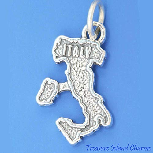 Italy Country Map Sicily .925 Solid Sterling Silver Charm Italian DIY Jewelry Making Supply for Charm Pendant Bracelet by Charm Crazy