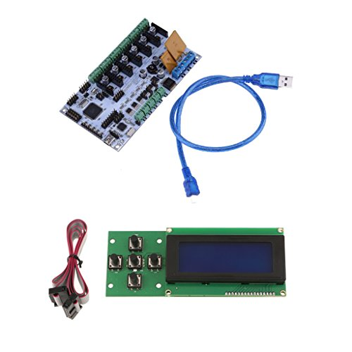 Top Fenteer 3D Printer Motherboard Control Board for Rumba 6-way Output with 2004 Display Screen Controller