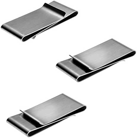 Money Clips 3 Pack, Stainless Steel Blanks for Engraving or Personalize, Double Clip