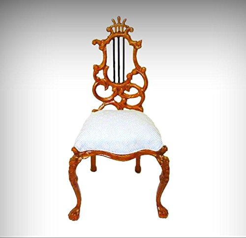 Dollhouse Bespaq Ornate Carved Walnut Uphholstered Chair Lyre Back Miniatures - My Mini Garden Dollhouse Accessories for Outdoor or House Decor - Bespaq Dining Room