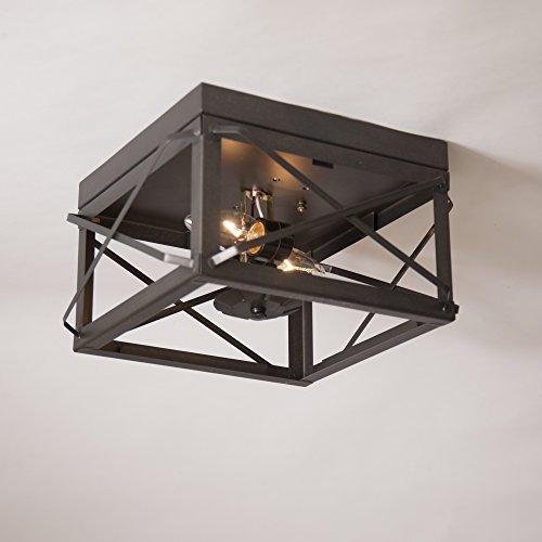 - Double Ceiling Light w/Folded Bars in Kettle Black