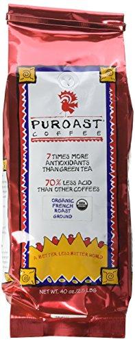 Puroast Low Acid Coffee Organic French Roast, Drip Grind, 2.5-Pound Bag