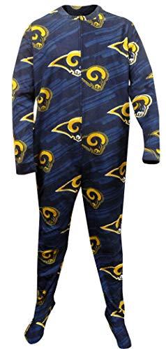 Concepts Sport Men's Los Angeles Rams One Piece Footie Pajama (Small) Navy - Concept Ram
