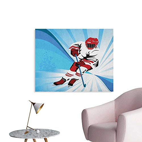 Anzhutwelve Hockey Wallpaper Hockey Player Makes a Strong Shot on Goal Rival Illustration Abstract Backdrop Custom Poster Blue Red White W32 xL24