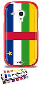 Carcasa Flexible Ultra-Slim SAMSUNG GALAXY S3 MINI de exclusivo motivo [Bandera Centro de Africa] [Roja] de MUZZANO  + ESTILETE y PAÑO MUZZANO REGALADOS - La Protección Antigolpes ULTIMA, ELEGANTE Y DURADERA para su SAMSUNG GALAXY S3 MINI