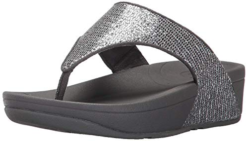 (Fitflop Women's Lulu Superglitz Textile Sandal,Silver,8 M US)