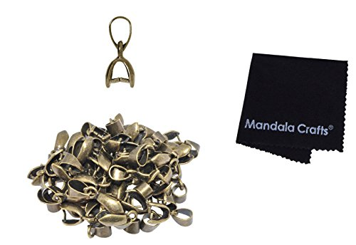Mandala Crafts Metal Pinch Bail, Pendant Connector, Dangle Charm Clasp Clip for Jewelry Making; 50 PCs Finding Kit (Antique Brass, 5 X 14mm) (Antique Connector Brass)