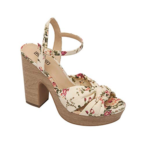 Pic & Pay Indigo | High Platform Wedge Ankle Strap Sandal Floral/White Canvas 8M