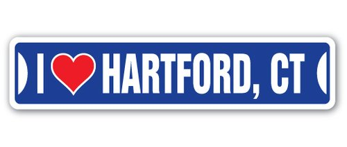[SignJoker] I LOVE HARTFORD, CONNECTICUT Street Sign ct city state us wall road décor gift Wall Plaque Decoration (Hartford Wall Plaque)